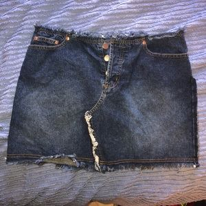 Vintage Distressed Denim Mini Skirt